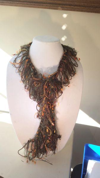Crocheted Orange Trellis Yarn with Hunter Green Angora Yarn Loop Scarf