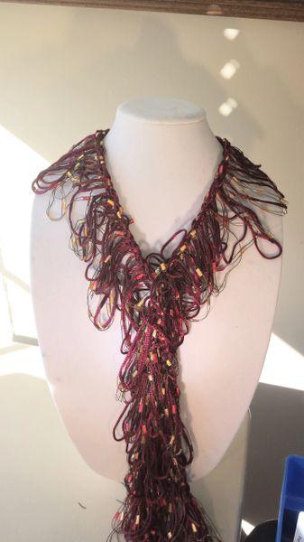 Crocheted Burgandy and Gold Trellis Yarn with Burgandy Satin Yarn Loop Scarf