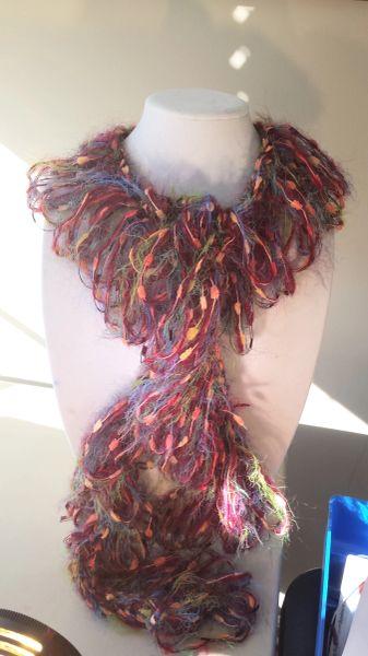 Crocheted Deep Red, Green, Blue Textured Angora Yarn Loop Scarf