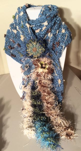 Cozy Wedgewood Blue, Brown, Cream and Army Green Winter Scarf with Lucite and Yarn Flower Decorative Clasp