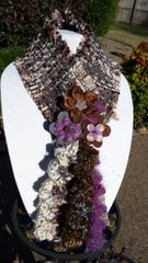 Cozy Multi Brown Hues, and Heather Purple Boucle' Fabric Winter Scarf with Lucite and Yarn Flower Decorative Clasp