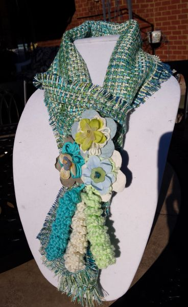 Multi Springy Turquoise Blue and Green Hues, Silk Boucle' Fabric Winter Scarf with Lucite and Yarn Flower Decorative Clasp