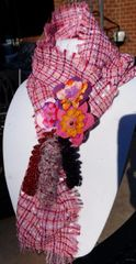 Multi Springy Magenta, Pink, Purple, Orange and White Hues, Silk Boucle' Fabric Scarf with Lucite and Yarn Flower Decorative Clasp