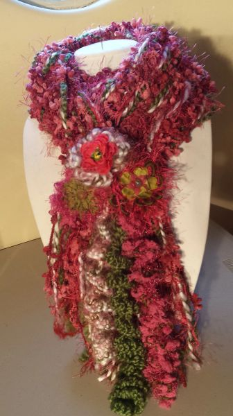 Cozy Magenta and Army Green Hues, Acrylic Yarn Winter Scarf with Lucite and Yarn Flower Decorative Clasp