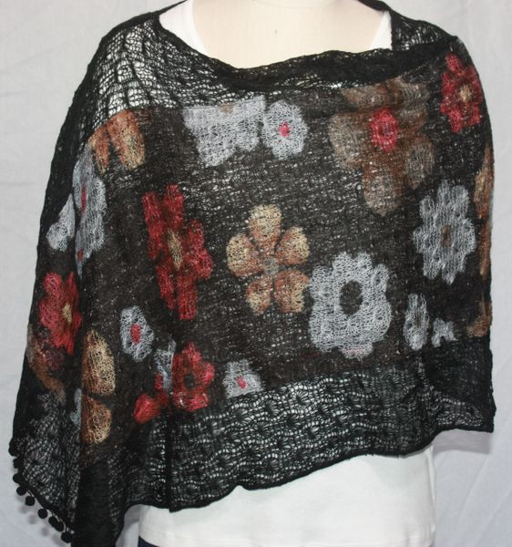 Black Sweater Acrylic 3-Way Poncho with Red, Lt Brown and Grey Floral Pattern