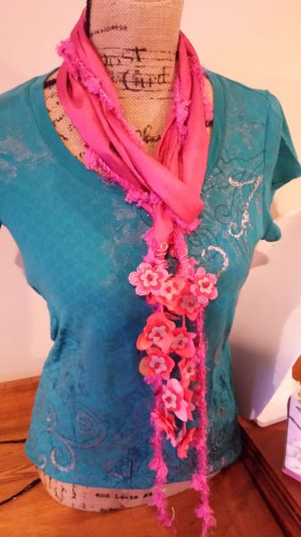 Crocheted Yarn and Stone Magenta Daisy Chain Scarf with Fabric and Lucite Floral Fringe