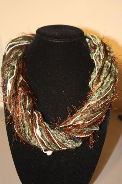 Army Green and Brown Yarn Necklace Scarf