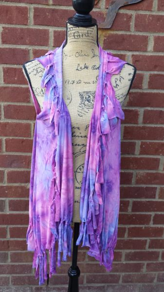 Purple and Magenta Pink Tie Dyed Fringe Vest with Beaded Fringe and Tuck Details