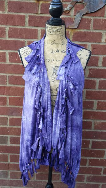 Purple Tie Dyed Fringe Vest with Beaded Fringe and Tuck Details