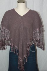 Heather Purple Sweater Acrylic 3-Way Poncho with Venetian Lace Trim