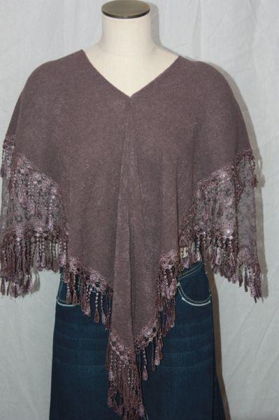 Heather Purple Sweater Acrylic 3-Way Poncho with Venetian Lace Trim