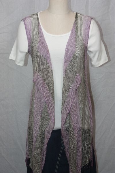 Purple and Black Organic Fabric 3-Panel Vest Scarf