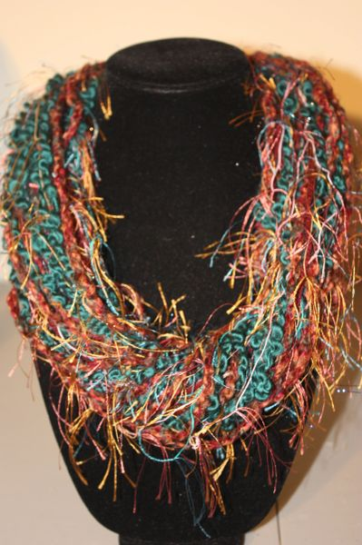 Rustic Burgundy and Teal Yarn Necklace Scarf