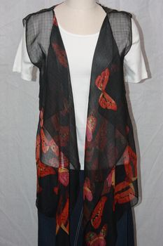 Black, Magenta and Orange Polyester Chiffon Fabric 3-Panel Vest Scarf Butterfly Print