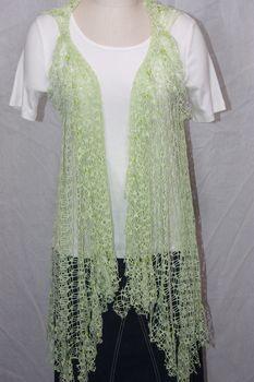 Celery Green Net Fringe Vest with Beaded Fringe and Tuck Detail