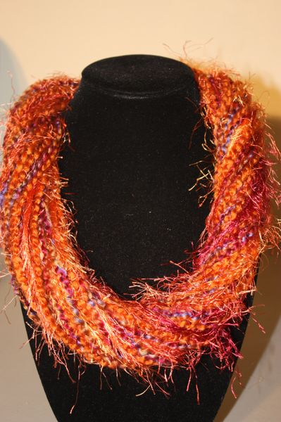 Autumn Oranges/Purples/Magenta Yarn Necklace Scarf
