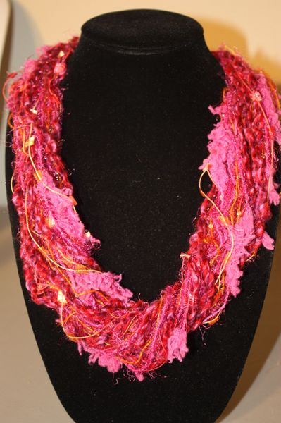Mix of Magenta and Orange Yarn Necklace and Scarf