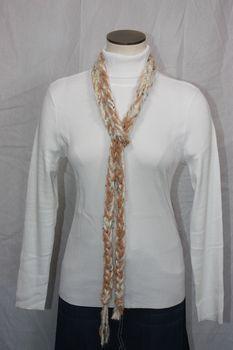 Off White Yarn with Light Brown Chenille Crocheted Rope Scarf