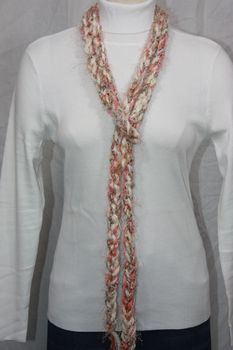Off White Yarn with Pink Hues and Eyelash Crocheted Rope Scarf