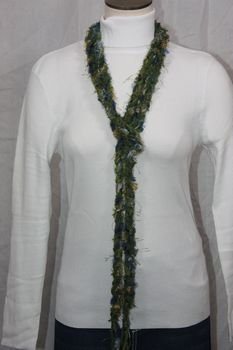 Army Green Yarn with Blue and Silver Grey Eyelash Crocheted Rope Scarf