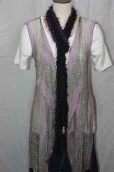 Purple Hues Yarn with Purple Eyelash Crocheted Rope Scarf