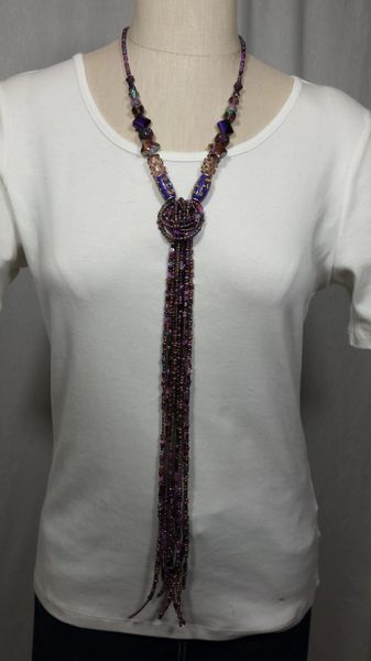 Shades of Purple Beaded Knot Strands Necklace with Stone/Glass/Maruti/Seed Beads