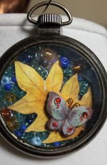 Butterfly & Leaf Pocket Watch Necklace with Natural Stone and Bead