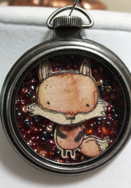 Fox Pocket Watch Necklace with Natural Stone and Bead
