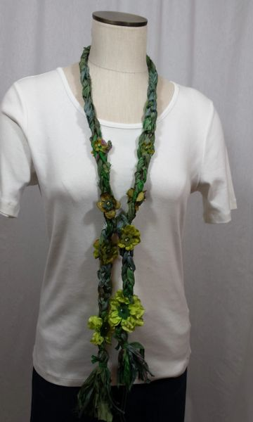 Green Shades Crocheted Recycled Sari Silk with Silk Flower, Stone and Bead Embellishment