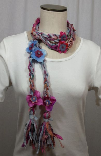 Magenta and Blue Crocheted Recycled Sari Silk with Silk Flower, Stone and Bead Embellishment