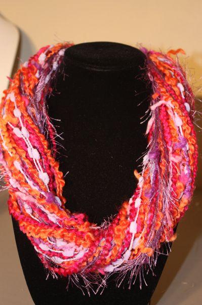 Mix of Purple/Magenta/Orange Yarn Necklace Scarf