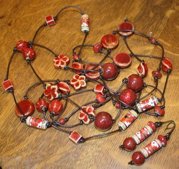 Long Brown Leather Lariat with Rustic Ceramic in Shades of Red and Earring Set
