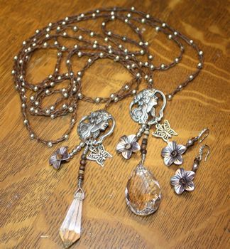 Long Brown Irish Linen Crocheted Lariat with Silver Beads and Crystal Charms and Earring Set