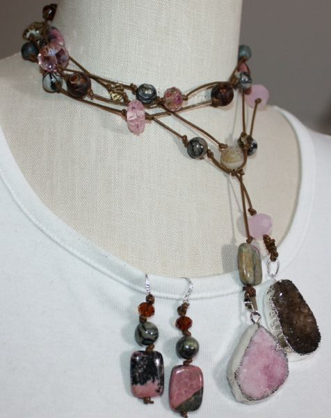 Long Brown Leather and Druzy Stone Hand knotted Lariat with Stone and Lampwork Glass and Earring Set /Belt/Wrap Bracelet