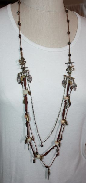 Hand-Knotted Brown Leather with Bronzite Stone and Silk Cord Hand-Knotted with Agate Stone and Charms.