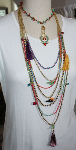 Turquoise, Red and Gold 3-Way Necklace - Make 3 Necklaces in 1