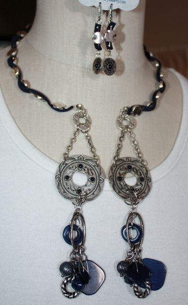 Denim Blue and Mexican Silver with Suede Details Double Dangle Necklace and Earring Set