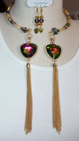 Iridescent Blues Greens Magenta Crystal and Gold Bead With Tassel Details Double Dangle Necklace and Earring Set