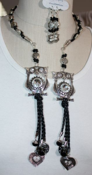 Cute Silver and Crystal Owls Accented With Black Braided Leather Tassel Details Double Dangle Necklace and Earring Set