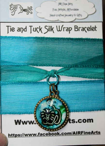 "Hues of Turquoise Silk ""Tie and Tuck"" Wrap Bracelet Embellished with any Zodiac Sign"