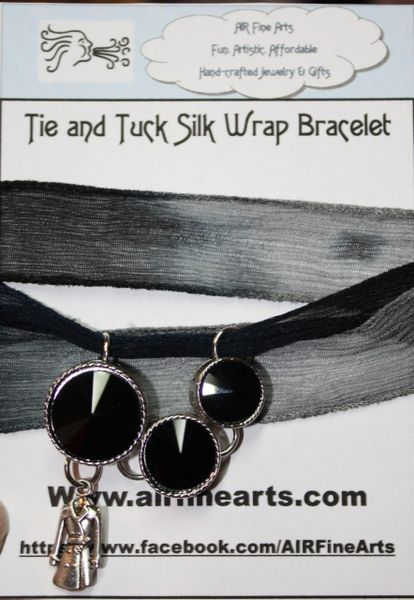 "Hues of Black and Gray Silk ""Tie and Tuck"" Wrap Bracelet Embellished with Black Triple Crystal and Silver Dress Charm"