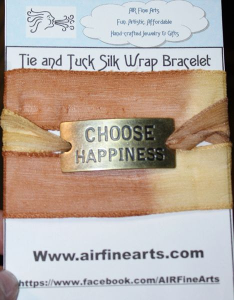 "Hues of Brown and Cream Silk ""Tie and Tuck"" Wrap Bracelet Embellished with Bronze ""Choose Happiness"" Quote"