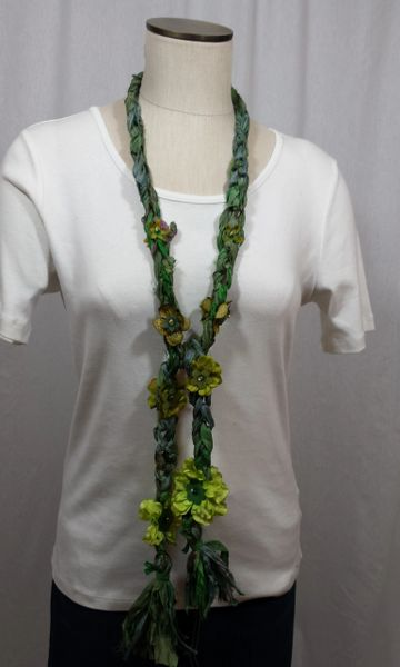 Mix of Forest Green, Olive and Lime Crocheted Recycled Sari Silk Scarf with Silk Flower, Stone and Bead Embellishment