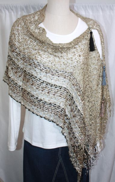 Woven Multi Light Brown/White/Grey/Black Vest/Poncho/Scarf with Tassel Accents