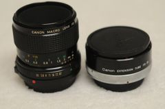 CANON 50mm F3.5 MACRO FD LENS w/FD25 1:1 EXTENSION TUBE