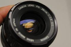 CANON 28mm F2.8 S.C. FD LENS, CAPS