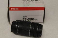 CANON EF 75-300mm F4-5.6 III LENS, BOXED, CAPS