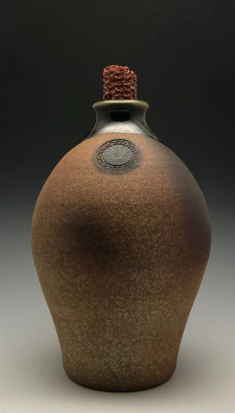 Wood-fired jug with Celtic Knot work ring