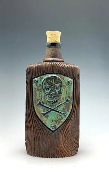 Woodgrain Flask with weathered bronze Skully Shield