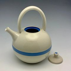 White Teapot with Blue Racing Stripe